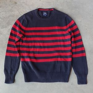 Gap Men's Navy Red Striped Crewneck Sweater small